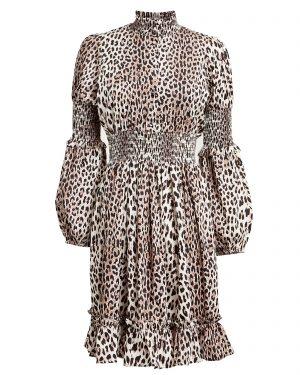NOTES DU NORD Maxine Smocked Leopard Dress